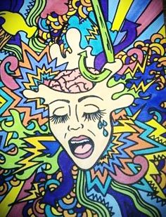 I drew this picture to represent migraines. I used to get one every day for 3 years. I was so miserable and hated waking up every morning. I was put on different medicines and nothing really helped, and if they did, they had strong side effects.But, I am happy to say that after praying hard and changing my diet, I have been migraine free for a year! Praise God(: