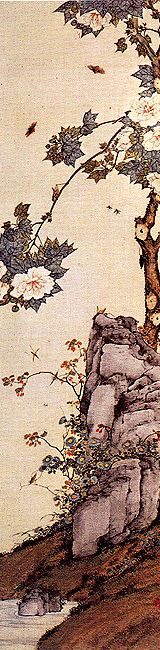Hibiscus, rock, insects - by Ju Lian (1828-1904), China. Lingnan School.