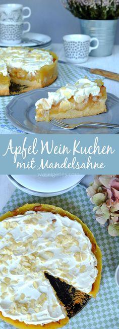 Apfel Wein Kuchen! Unten Mürbeteig, in der Mitte Apfel Wein Belag und oben eine Sahnehaube mit Mandelblättchen. Lecker!