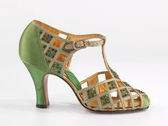 Evening shoes Manufacturer: Delman (American, founded 1919) Date: 1935 Culture: American Medium: silk, rhinestones