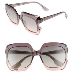 Women's Dior Gaia 58Mm Square Sunglasses ($350) ❤ liked on Polyvore featuring accessories, eyewear, sunglasses, grey pink, square sunglasses, christian dior glasses, pink glasses, pink sunglasses and grey sunglasses