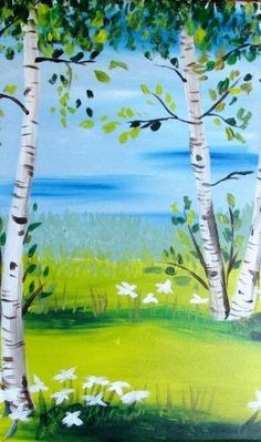 Easy-Acrylic-Painting-Ideas-for-Beginners, Birchwood trees and flowers.