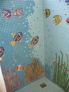 Banheiro motivo marinho em pastilhas de vidro- Litoral SP