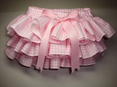 Little Miss Alexa Newborn Infant Toddlers Pink Gingham Ruffle Bloomers Diaper Cover by Bloomin Cuties. $30.00, via Etsy.