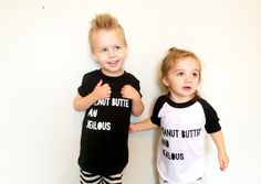 """""""Peanut Butter and Jealous"""" t-shirt. Hand screen printed in White on high quality American Apparel Black cotton t-shirt. This super soft unisex tee. Cute Outfits For Kids, Cute Kids, Jealous, Black Cotton, American Apparel, Sage, Peanut Butter, Graphic Tees, Kids Fashion"""