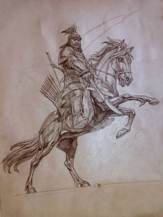 Horse Archer - sports: mounted archery - Welcome Haar Design Art And Illustration, Ink Illustrations, Fantasy Kunst, Fantasy Art, Age Of Empires, Archer Tattoo, Art Sketches, Art Drawings, Horse Logo
