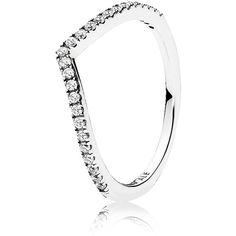 Pandora Ring - Sterling Silver & Cubic Zirconia Shimmering Wish ($45) ❤ liked on Polyvore featuring jewelry, rings, silver, pandora jewelry, cz rings, sterling silver cubic zirconia rings, pandora rings and pandora jewellery