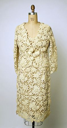 Christian Dior Haute Couture evening cocktail dress and jacket ensemble from spring/summer 1964 by designer Marc Bohen. Made from ivory color cotton silk lace. House of Dior.