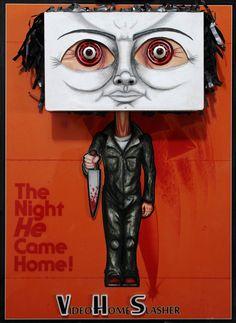 MICHAEL by NMPM.Wall sculpture using vintage VHS tape. Halloween, Michael Myers, slasher, vhs art, horror art.