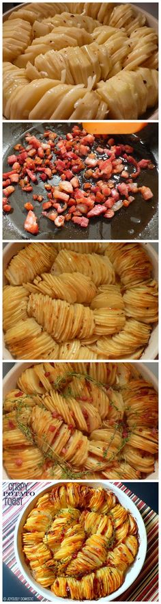 Crispy Potato Roast minus the bacon—yum! I Love Food, Good Food, Yummy Food, Tasty, Potato Recipes, Vegetable Recipes, Potato Dishes, Crispy Potatoes, Cook Potatoes