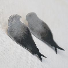 bird earrings swallow stud earrings woodland by LolaAndCash, $42.00