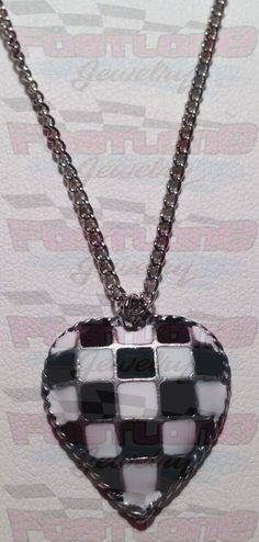Checkered Flag Heart Charm Necklace by Fastlane Jewelry