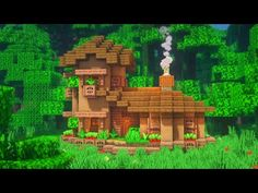 Minecraft: How to Build a Jungle Starter House Villa Minecraft, Minecraft Jungle House, Minecraft Starter House, Minecraft Farm, Minecraft Houses Survival, Easy Minecraft Houses, Minecraft House Tutorials, Minecraft Plans, Minecraft House Designs