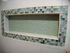 Love this tiled shower shelf!