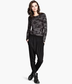Harem Pants $19.95 DESCRIPTION Harem pants in soft jersey with side pockets and an elasticized waistband. DETAILS 4% spandex, 48% modal, 48% cotton. Machine wash warm Imported Art.No. 62-1814