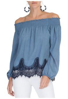 CANAL - Blusa ombro a ombro - azul - OQVestir