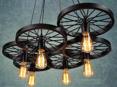 Chandeliers – 6 wheels Pendant light Industrial lighting – a unique product by Dreamlightforyou on DaWanda