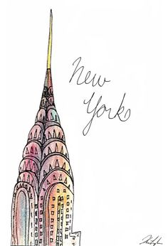 New York Fashion Illustration of Chrysler Building - NYC - Fashion Art - Fashion Sketch - Colourful Artwork - New York City Fine Art - NUEVO * ilustración de moda Nueva York - New York Fashion, Fashion Art, Chrysler Building, New York Restaurants, New York City, Ville New York, Voyage New York, Colorful Artwork, City Art
