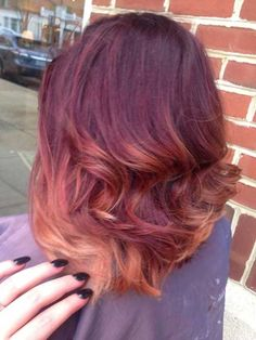 Red Ombre Long Bob