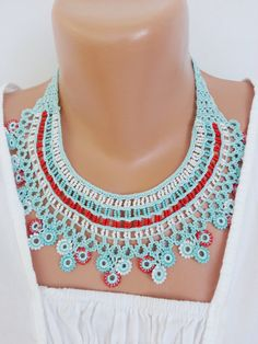 Turquoise multi strand necklace, beaded crochet necklace, fiber art necklace, bib necklace