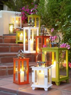 Use flameless candles in cases for a beautiful and easy outdoor look.