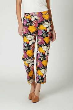 Anthropologie by Elevenses Floral Tropical Crop Pants Size: 6