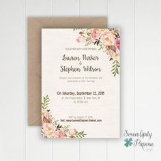 Are you dreaming of a beautiful rustic wedding? Well, youve come to right place, this Wedding Stationery might be just for you! ===== WHAT YOU RECEIVE ===== This listing is for a PRINTABLE stationery set that includes. -5x7 wedding invitation(front and back) -4x6 Save the Date card (single sided) -4x6 Thank you card (single sided) -Personalization: with all your event information and color choice (text and background) **Please NOTE flower...