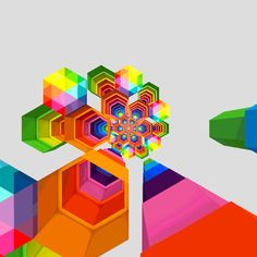 """Hexeosis. The suffix """"-osis"""" indicates a condition or state, especially an abnormal state.   In the series of images, the six-sided shapes are stacked, overlaid, expanded, and moved across each image square. The results of these multicolored movements are a visual delight, dazzling, and at times, overwhelming. Filled with patterns and bright colors, the looping animations are new media forms that reference the psychedelia of another decade."""