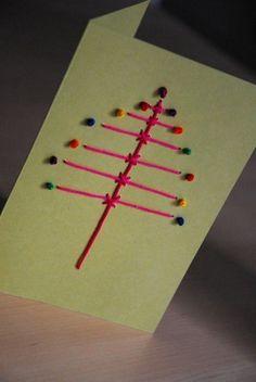 Tarjetas de Navidad originales hechas a mano con puntadas 1
