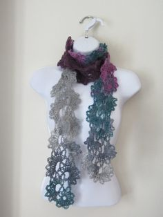 Queen Anne Lace Scarf in colors of grey peacock by Bluetulipgifts