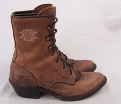 Ariat Women's Lace-up Western Brown Leather Boots Style 31080 Size ...