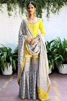 Buy sunflower yellow short kurta with grey tissue net garara online in USA. Get wedding ready with a stunning range of Indian designer suits and lehengas from Pure Elegance fashion store in USA. We bring the best dresses for brides in USA at our online st Trendy Dresses, Elegant Dresses, Nice Dresses, Ladies Dresses, Indian Attire, Indian Wear, Pakistani Outfits, Indian Outfits, Ethnic Fashion