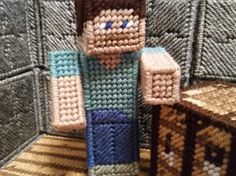 Minecraft - Steve in plastic canvas. Plus additional Minecraft PC instructions.