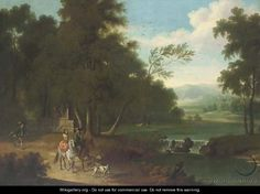 An extensive wooded river landscape with a hawking party on a track - (after) Joris Van Der Haagen Or Hagen