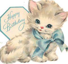 Vintage Birthday Card Cat