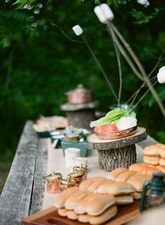 camp theme party | rustic cake stands and copper accents