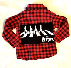 Super cute red and black checked flannel; upcycled with Beatles patch on back.Front has added skull patches.cute for your little rock star! Skull Patches, The Beatles, Flannel, Upcycle, Super Cute, Plaid, Boutique, Rock, Clothing