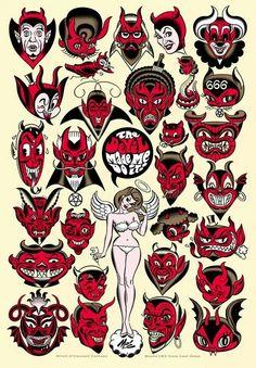 Mitch oconell ......awsome Rockabilly Tattoos, Rockabilly Art, Flash Art, Tatoo, Devil Tattoo, Diablo Tattoo, Tattoo Designs, American Traditional, Satanic Art