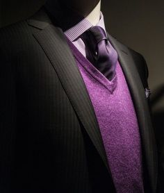 black suit | purple cool details