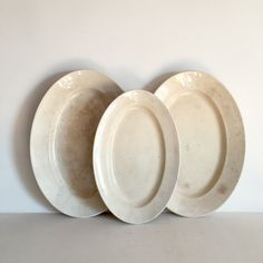 Elegant Oval French Ironstone Serving Platters - Set of 3 Plates - Antique Sarreguemine Plates - Shabby Chic Patina - French Table by LaVieEnPastis on Etsy