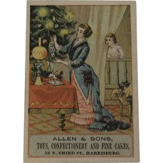 Toy Store Christmas Tree Trade Card Advertising