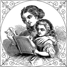 Free Clip Art | Woman and Child Reading - http://vintagegraphics.ohsonifty.com/free-clip-art-woman-and-child-reading/