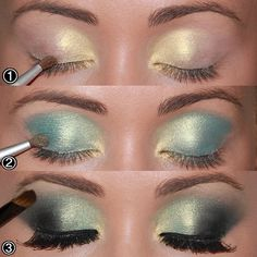 """ -Start by applying a golden shadow at the beginning of the eyelid to brighten 2 - spray it across the eyelid shadow smoky aqua green and … 3 - apply moss green shade in the crease and the corners of..."