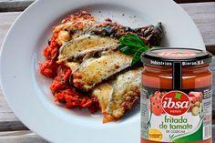 Berenjenas con jamón serrano y salsa de tomate IBSA #tomatefrito #pimientosasados #salsadetomate #berenjenas #berenjenasrellenas #jamon