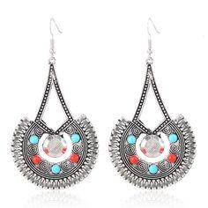 LZHLQ Retro Geometric Hollow Drop Earrings Long Metal Ethnic Carved Dangles Bead Earring 2017 Trendy Women Maxi Jewelry Eardrop #Affiliate