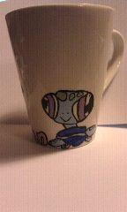Coffee mug my daughter made for Christmas using PLAID® Enamel Paints