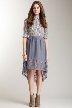 Hi-Lo Lace Trim Skirt