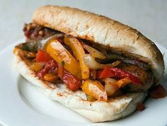 Little Italy New Jersey Style sausage and peppers sandwich recipe Sausage And Peppers Sandwich, Italian Sausage Sandwich, Sausage Peppers And Onions, Sausage Sandwiches, Sweet Italian Sausage, Stuffed Peppers, Italian Sausages, Onion Recipes, Sausage Recipes