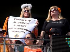 "San Francisco Giants fans thank their team for a ""refreshing"" year during a Major League Baseball game between the Giants and San Diego Padres at AT&T Park in San Francisco, Sunday, Sept. 29, 2013. The Giants won their final game of the season, 7-6. (D. Ross Cameron/Bay Area News Group)"
