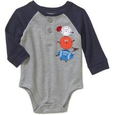 2c5bcbb7e Garanimals - Newborn Baby Boy Long Sleeve Thermal Graphic Raglan Bodysuit -  Walmart.com